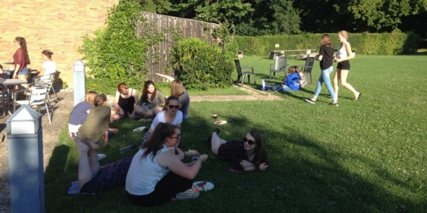 Relaxing at our barbecue on the Summer Course 2016 in Germany